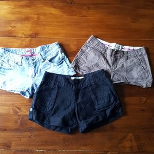3 Pairs Low Waist Daisy Duke Shorts Size 0